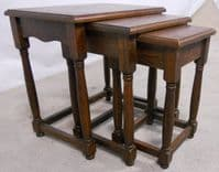 Antique Jacobean Style Oak Nest of Three Coffee Tables - SOLD